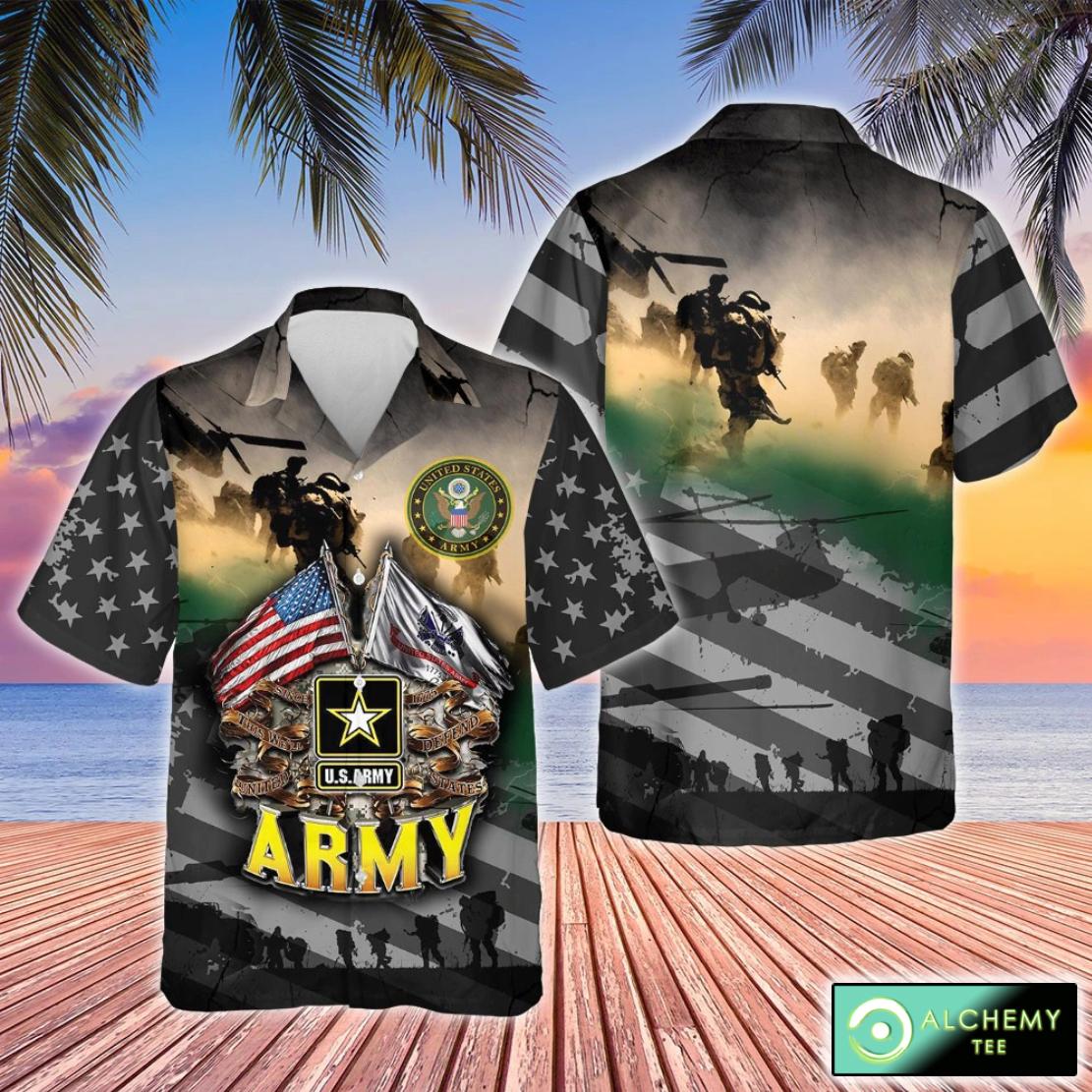 Proudly served U.S Army short sleeve hawaiian shirt