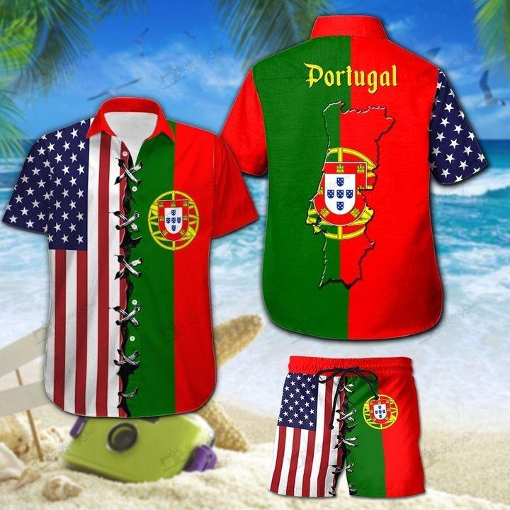 America And Portugal Flag Hawaiian Shirt And Short