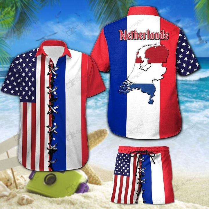 America And Netherlands Flag Hawaiian Shirt And Short