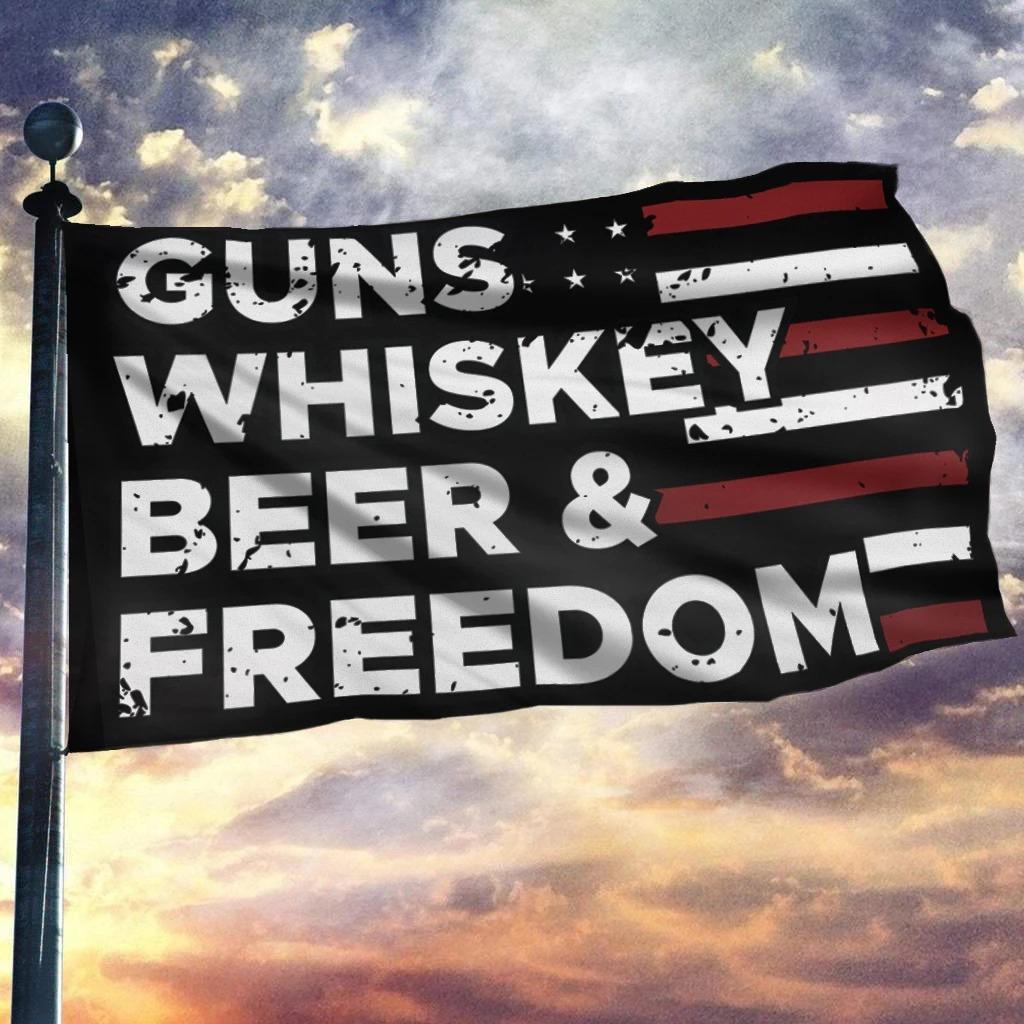 Gun whiskey beer and freedom house flag garden flag