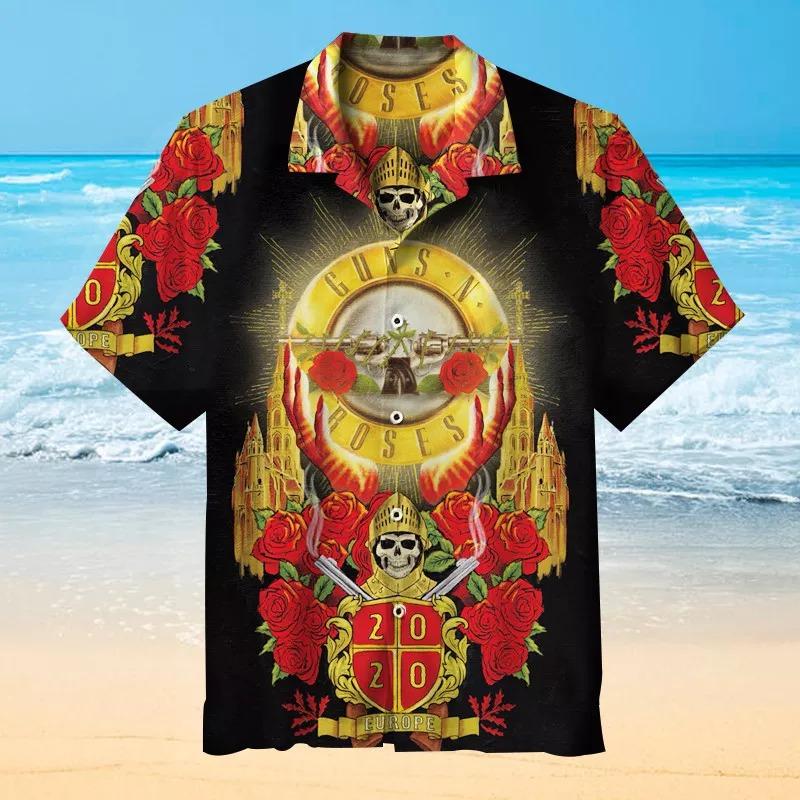 Guns and Roses Short Sleeve Hawaiian Shirt