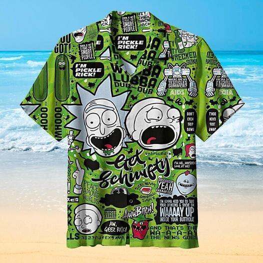 Rick and Morty Pattern Hawaiian Shirt