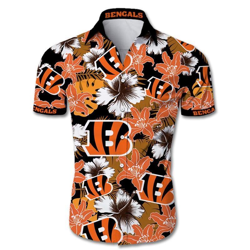 NFL Cincinnati Bengals Hawaiian Shirt Tropical Flower