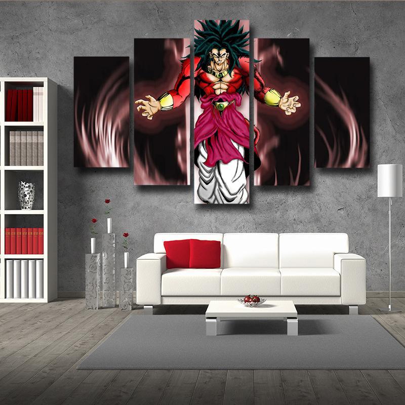 5P Canvas Dragon Ball Broly SSJ4 5pc Wall Art Canvas Prints
