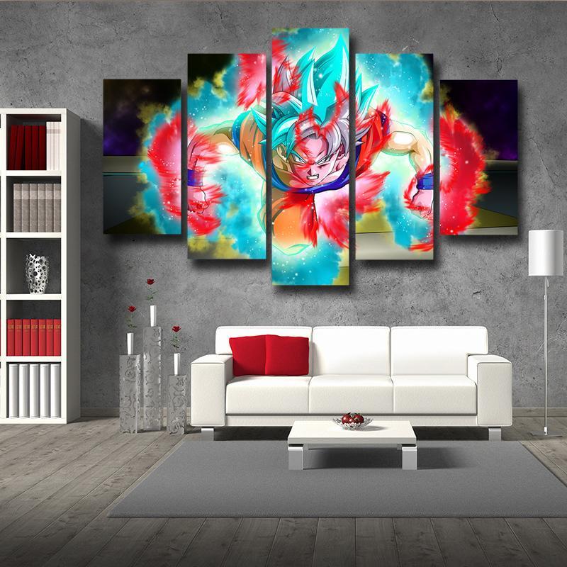 5P Canvas Dragon Ball Half Goku God Blue Goku Ultra Instinct 5pc Wall Art Decor