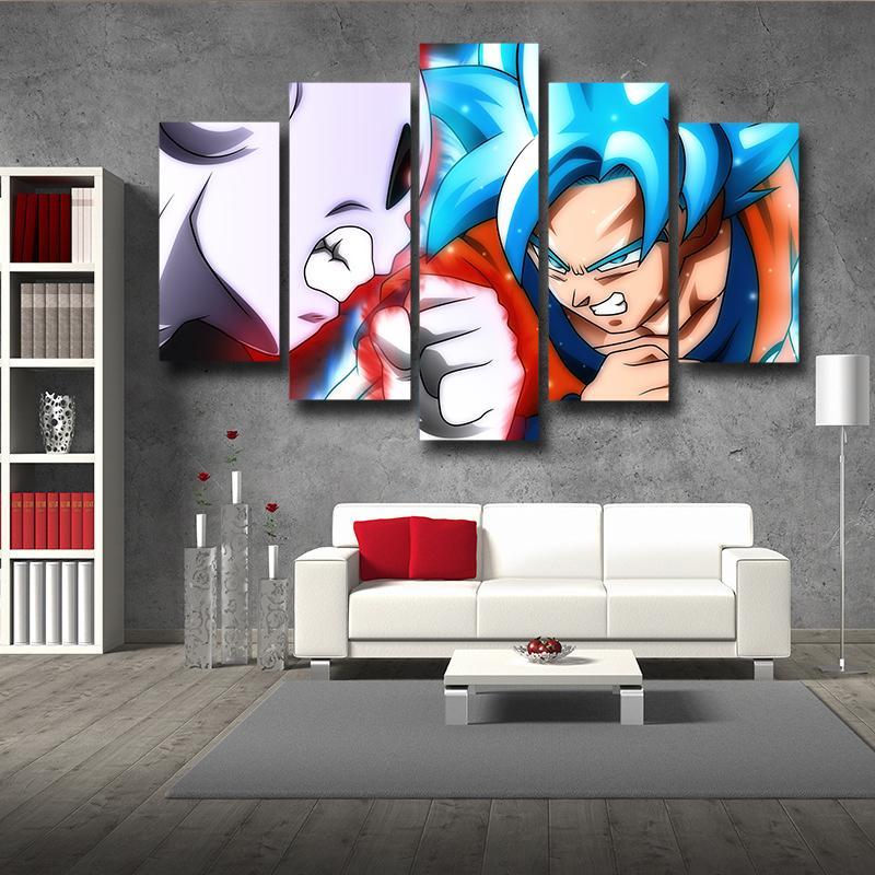 5P Canvas Goku Super Saiyan Blue Vs Jiren Fighting Scene 5pc Wall Art