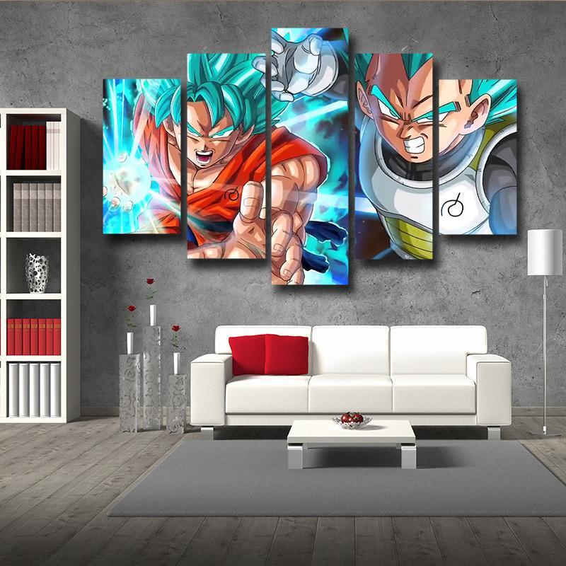 5P Canvas Resurrection Goku Vegeta Ki Blast Fighting 5 panel Wall Art
