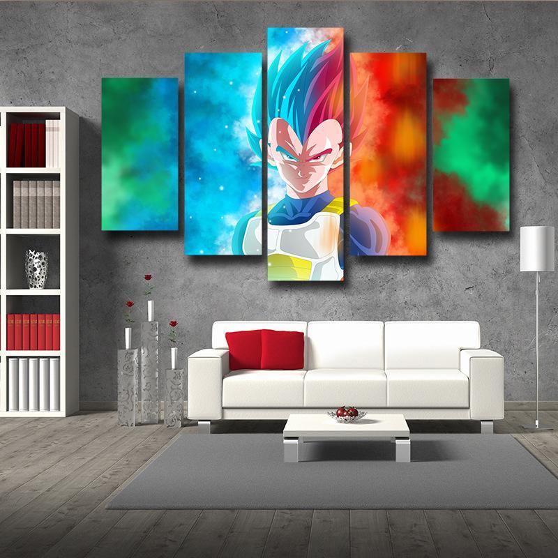 5P Canvas Vegeta Half Portrait Super Saiyan Blue and God 5pc Canvas Art Print