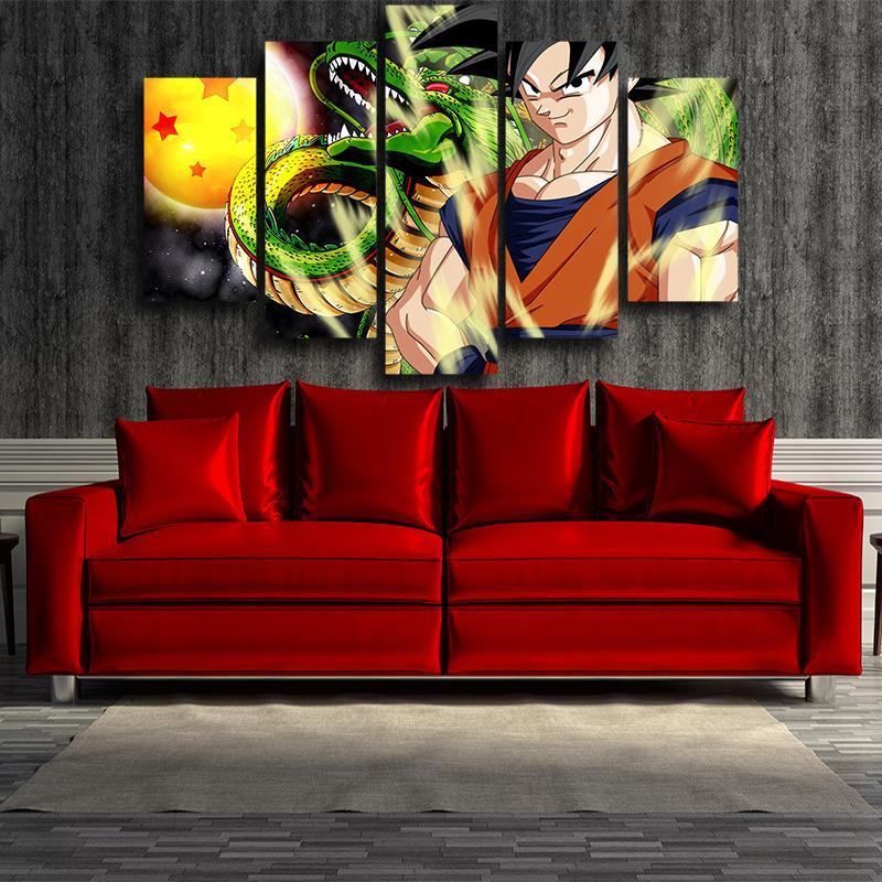 5P Canvas DBZ Goku Shenron Epic Style 5pc Wall Art Decor Canvas Print