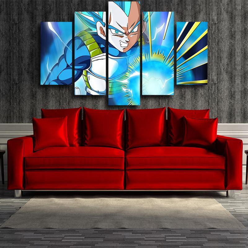 5P Canvas Dragon Ball Angry Vegeta Super Saiyan Blue Ki Blast 5pc Wall Art Decor