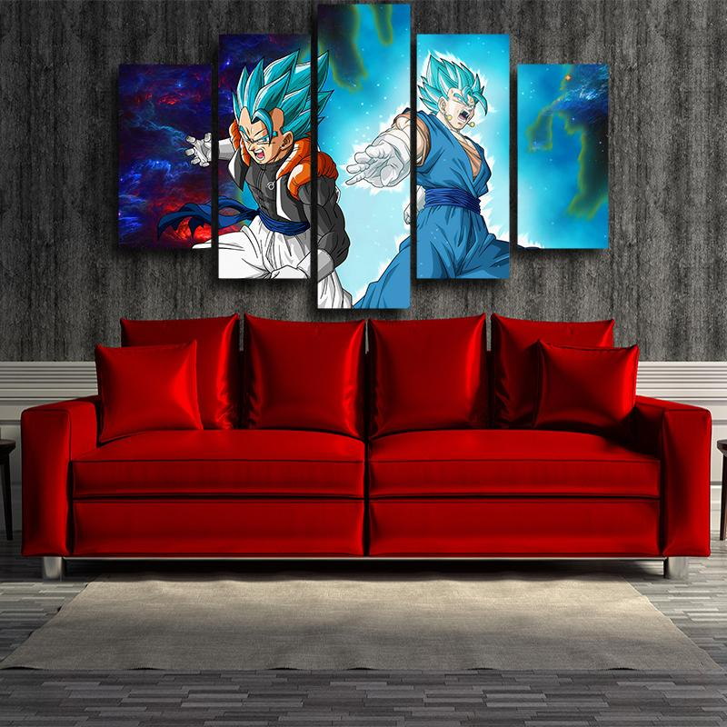 5P Canvas Dragon Ball Gogeta Vegito Galaxy 5 panel Wall Art Print