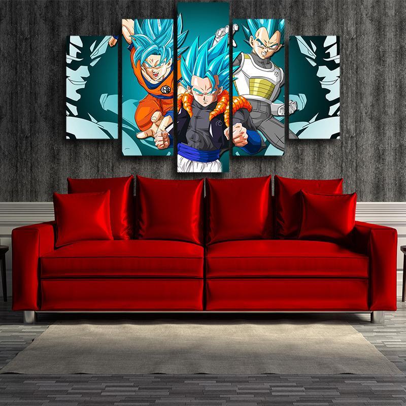 5P Canvas Resurrection Gogeta Super Saiyan Blue Goku Vegeta Super Saiyan Blue 5pc Wall Art