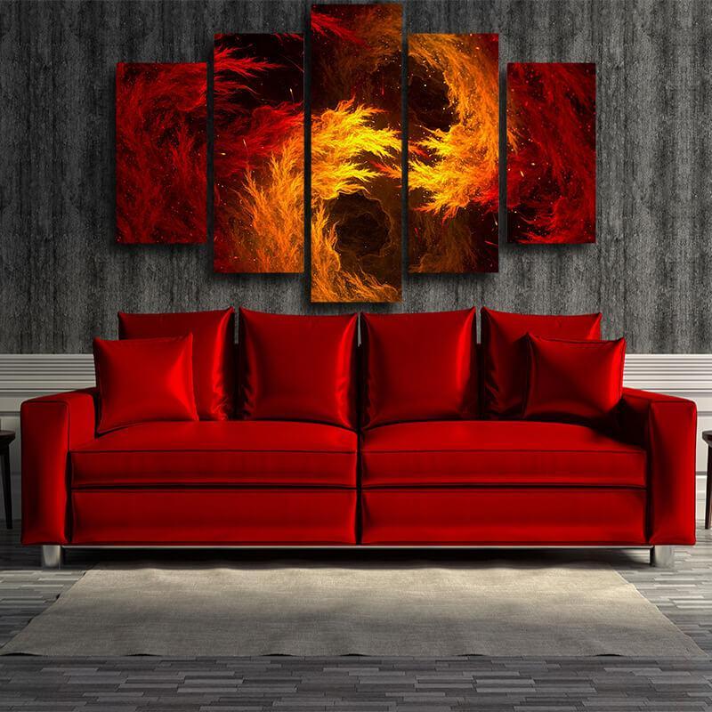 5P Canvas Dragon Ball Dope Super Saiyan Orange Flame Aura 5 panel Canvas Print