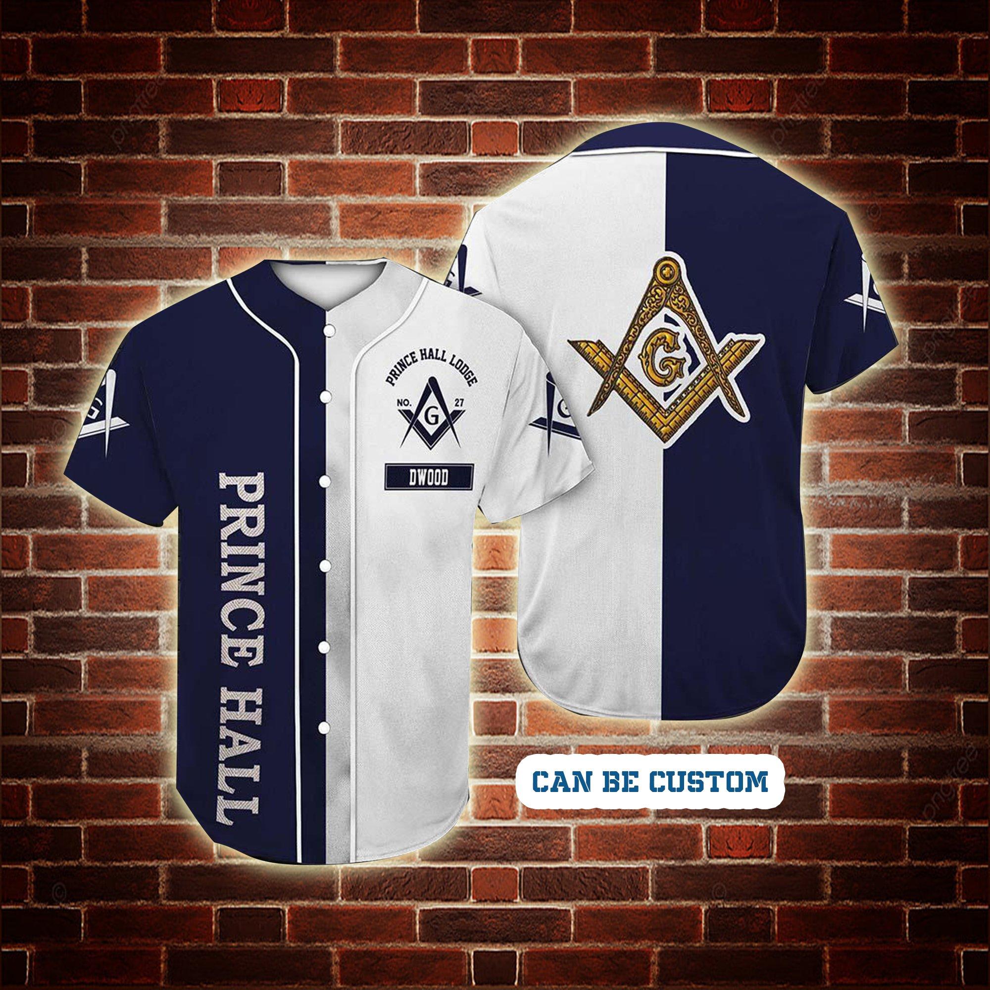 Personalized Prince Hall Freemasonry Baseball Jersey