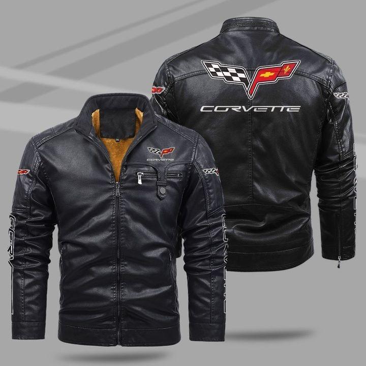 Chevrolet Corvette Fleece Leather Jacket