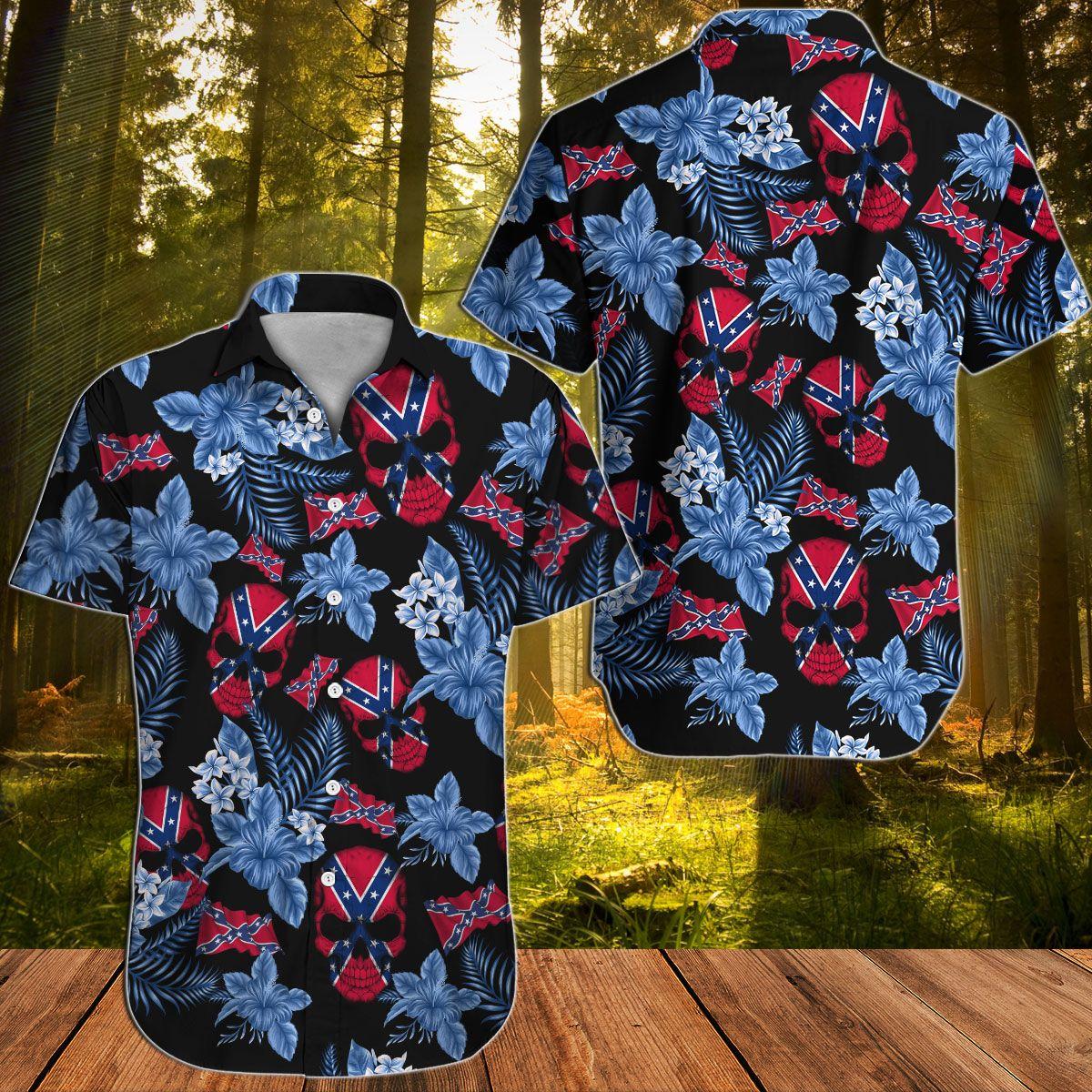 Southern Rebel Floral Floral Skull Hawaiian shirt