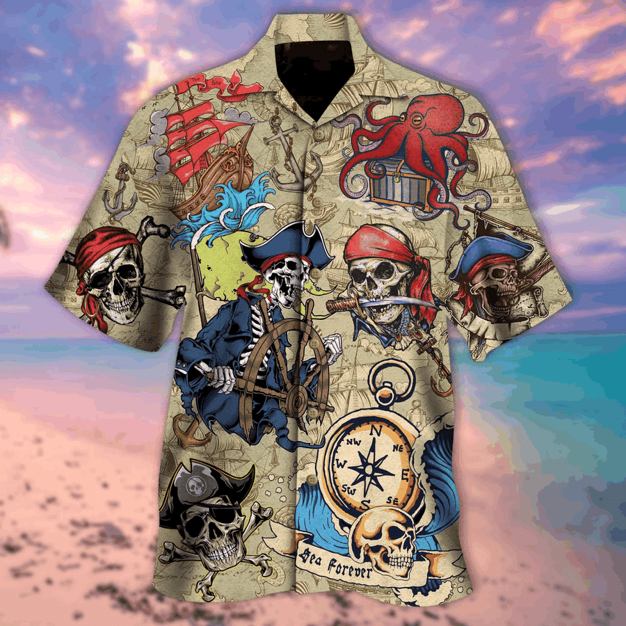 Skull Pirate Vintage Skull Pirate Hawaiian Shirts