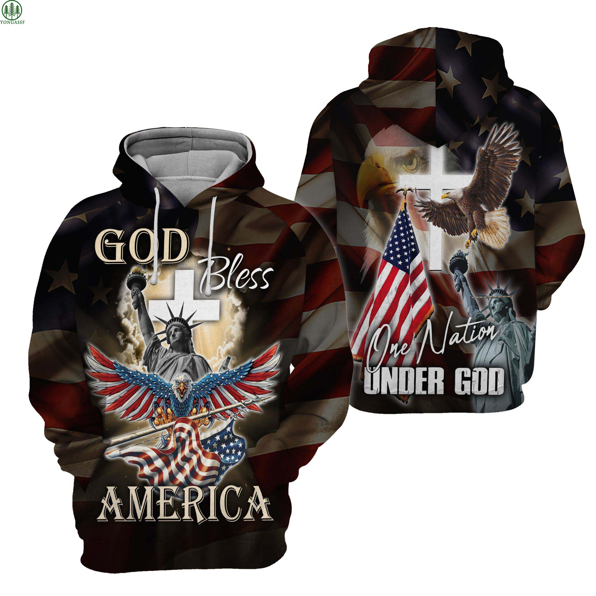 America One nation under God Statue of Liberty Hoodie