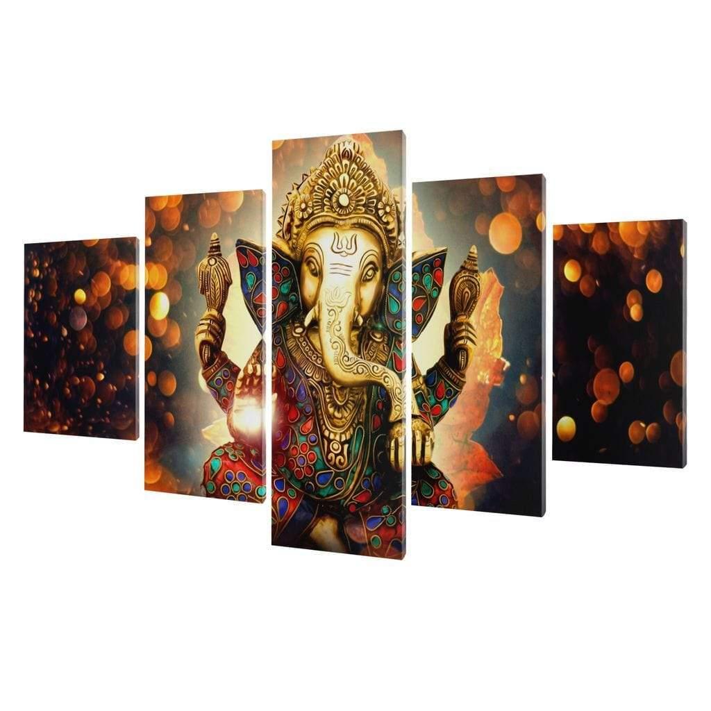 5P Canvas The Hindu God Ganesh 5 panel wall art canvas
