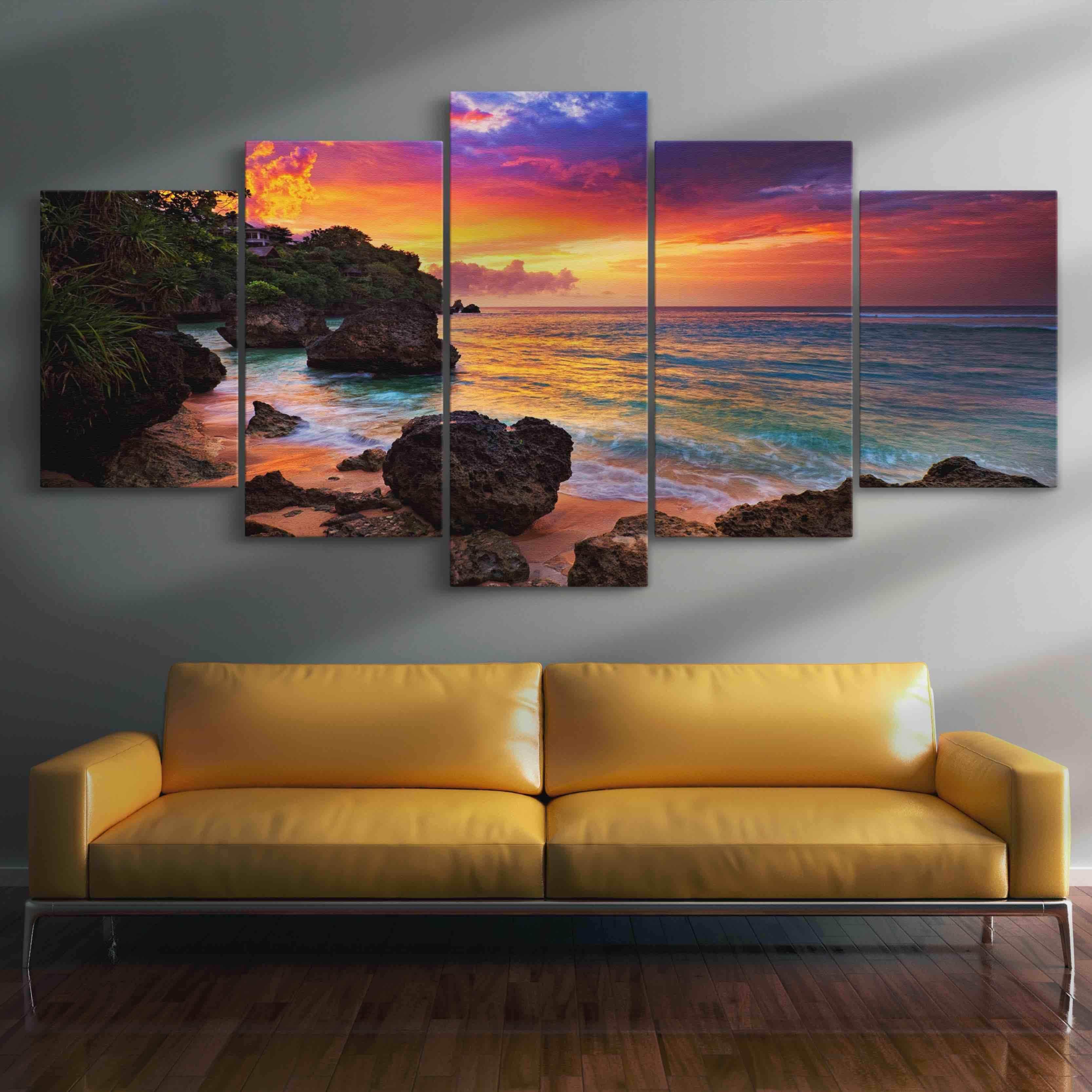 5P Canvas Sunset Beach Romance 5 panel wall art canvas