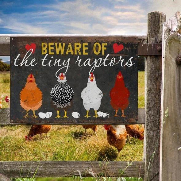 Beware Of The Tiny Raptors Metal Sign