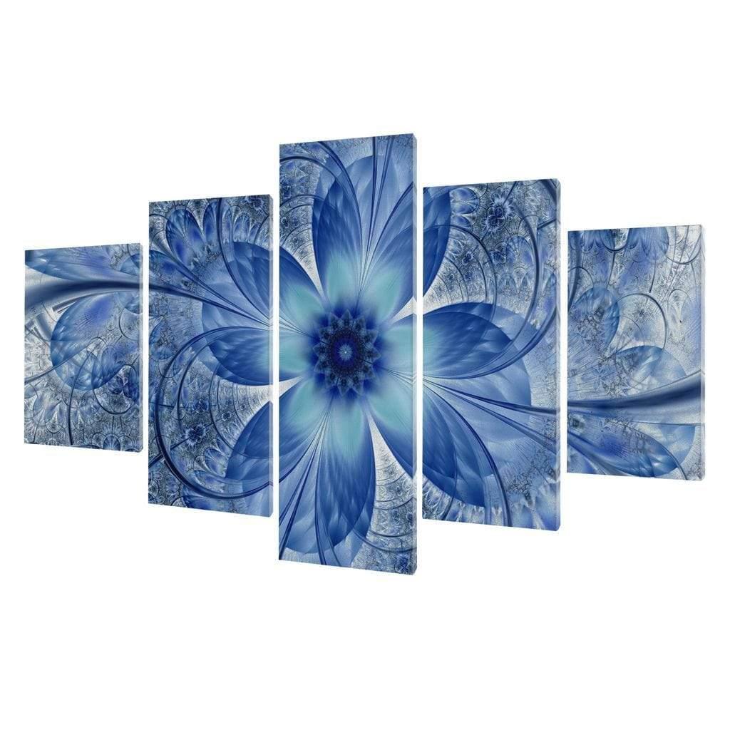 5P Canvas Dark Blue Fractal Flower 5 panel wall art canvas