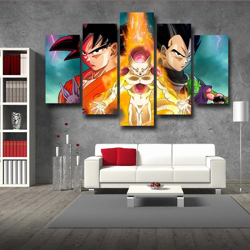 5P Canvas DBZ Golden Frieza Fight Goku Vegeta 5pc Wall Art Canvas Decor