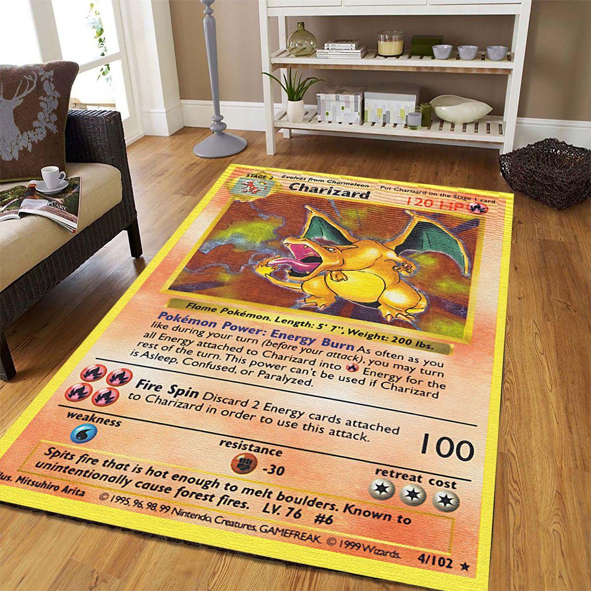 Charizard Fire Pokemon living room carpet Rug
