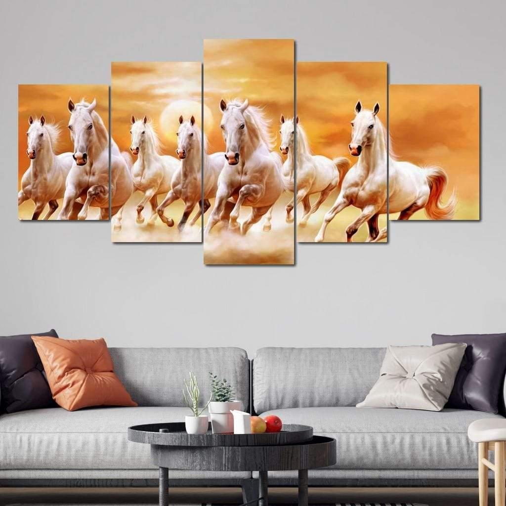 5P Canvas Seven Horses 5 panel wall art canvas