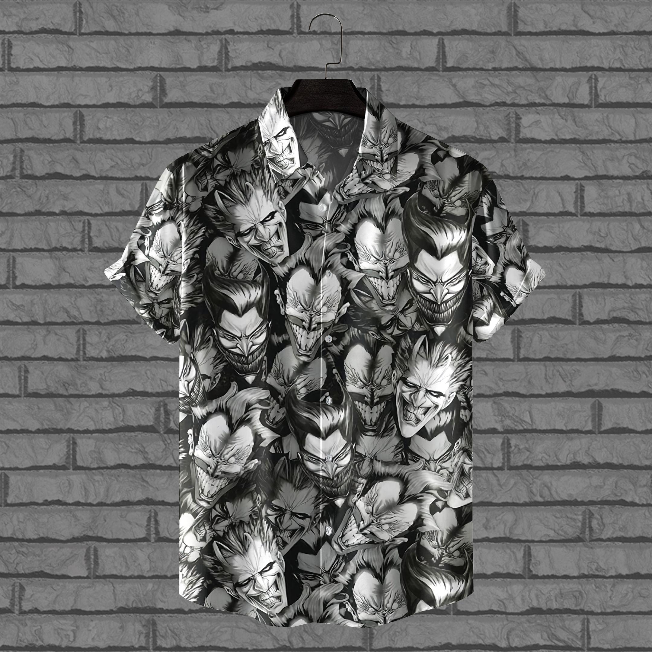 Joker face black and white Hawaiian Shirt Batman seriez