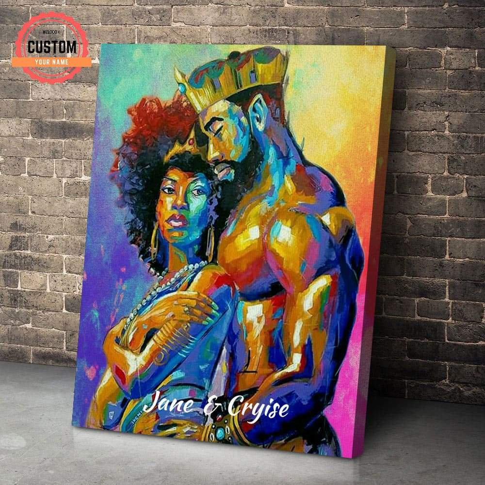 African Black King And Queen Custom Name Canvas