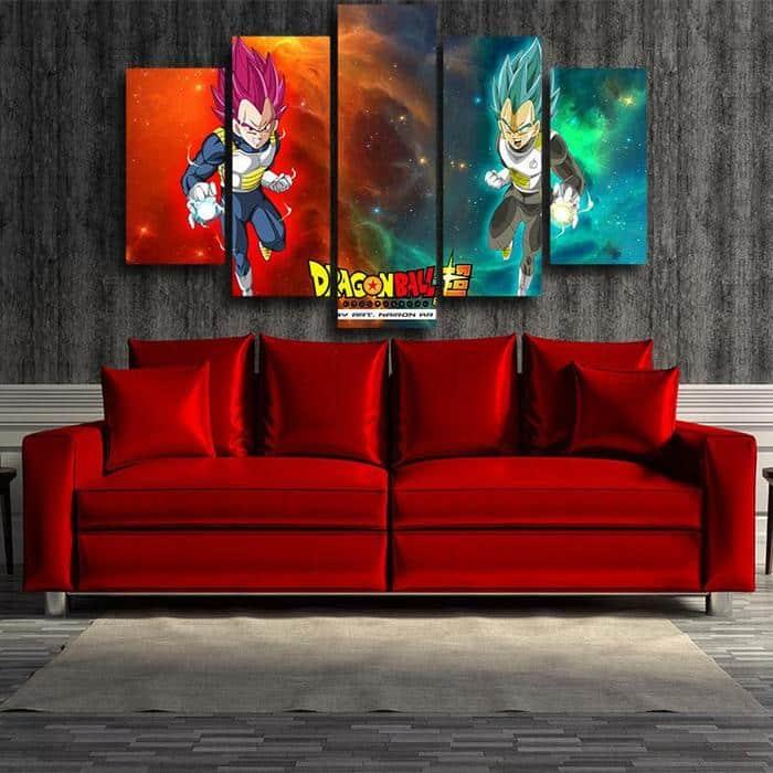 5P Canvas DBS Duel Vegeta Super Saiyan God Blue Canvas 5 panel Wall Art