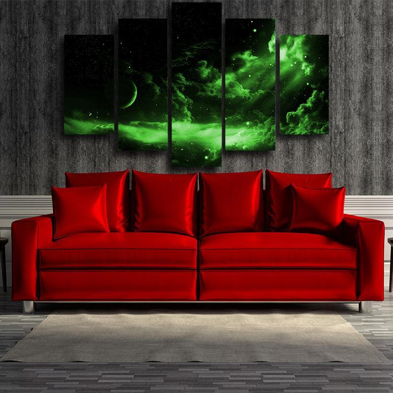 5P Canvas Dragon Ball Z Dark Green Outer Space 5 panel Canvas Print