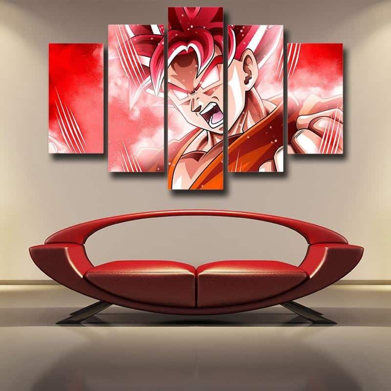 5P Canvas Dragon Ball Super Transformation Super Saiyan God 5 panel Canvas Print