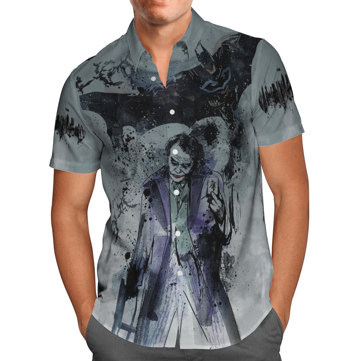 Batman and Joker black ink Hawaiian Shirt Button Up Shirt