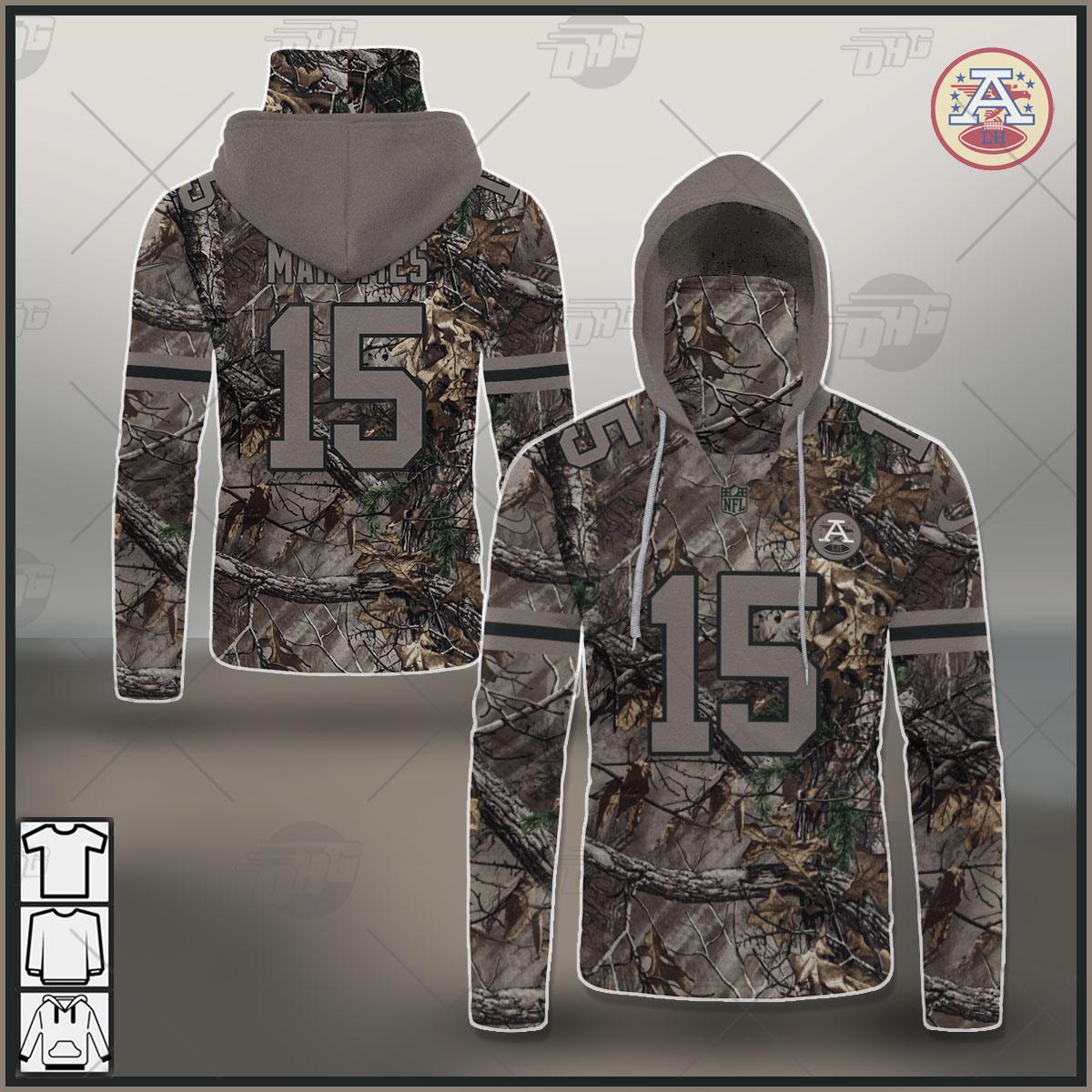 Custom NFL Kansas City Chiefs Camo Patrick Mahomes Jersey Clothes Hunting
