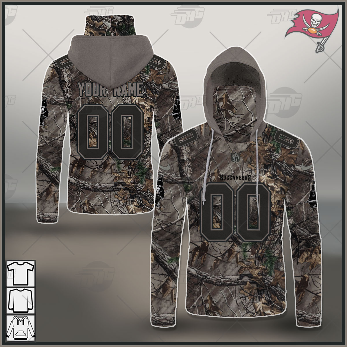 Custom NFL Tampa Bay Buccaneers Camo Jersey Clothes Hunting