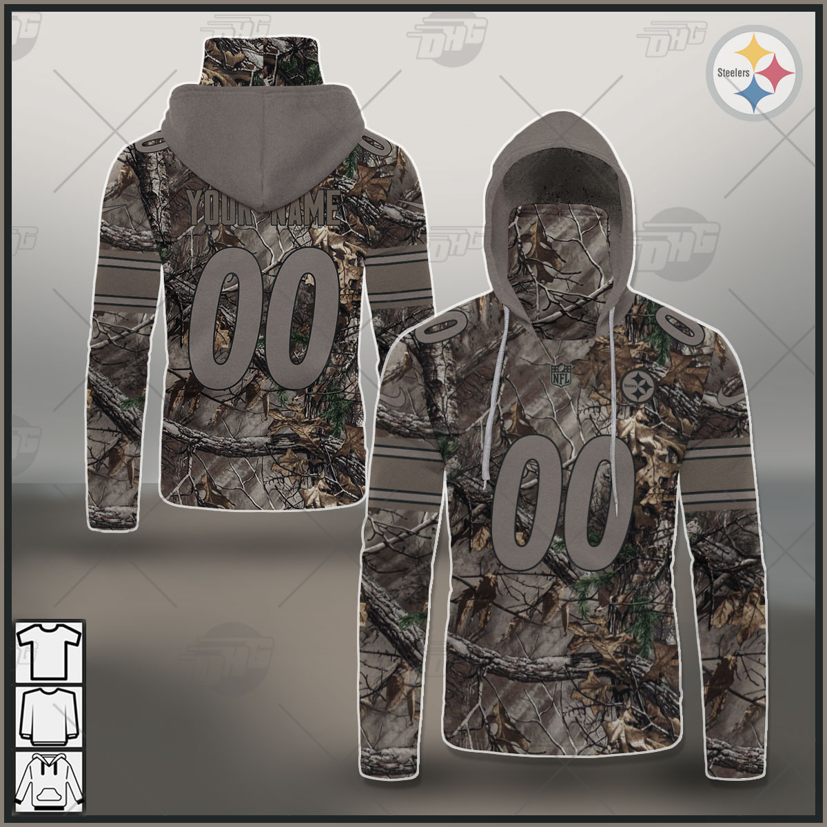 Custom NFL Pittsburgh Steelers Camo Jersey Clothes Hunting Gear