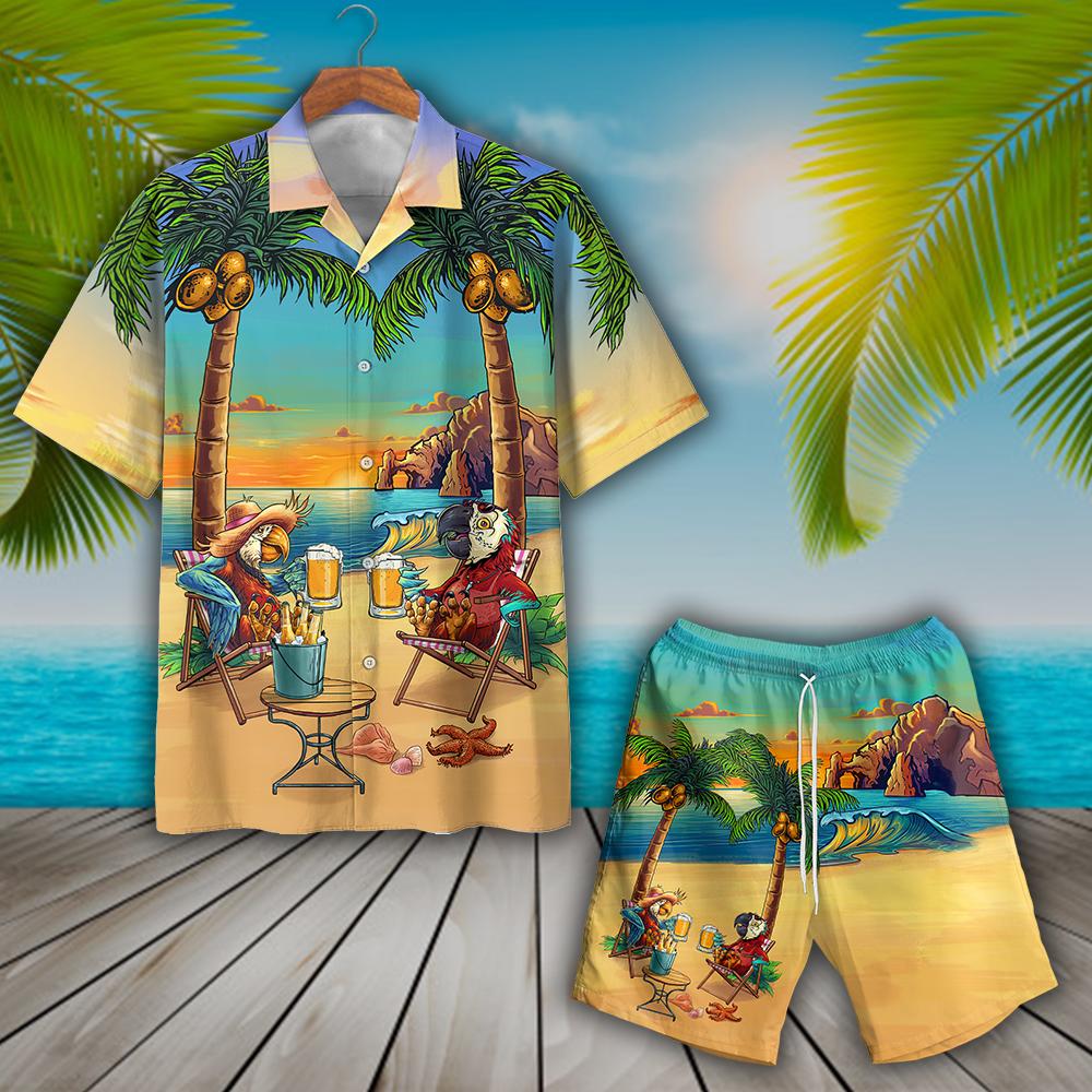 HOT Parrot Party On The Beach Hawaiian Shirt