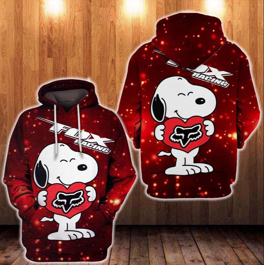 Fox racing hold by Snoopy Heart 3D Hoodie
