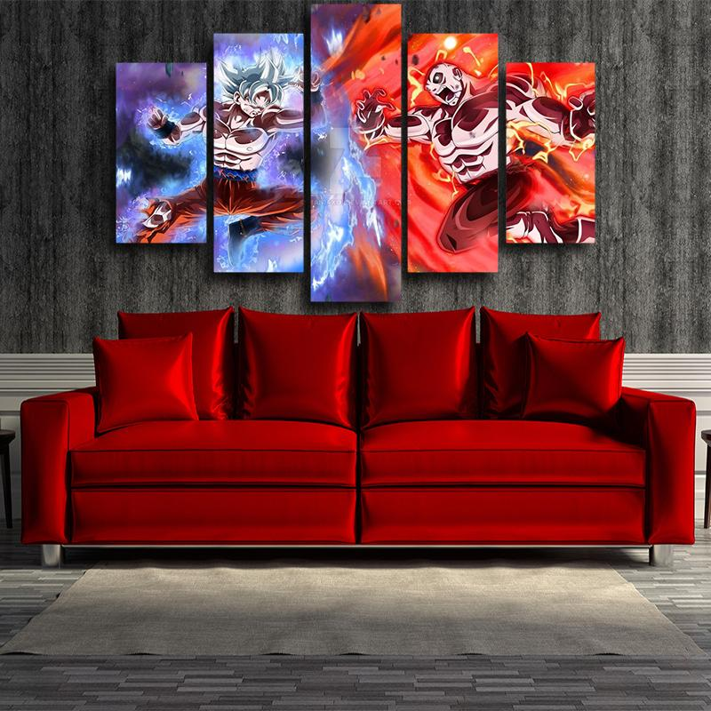 5P Canvas Goku Jiren Epic Battle Dragon Ball 5 panel Wall Art Canvas Prints