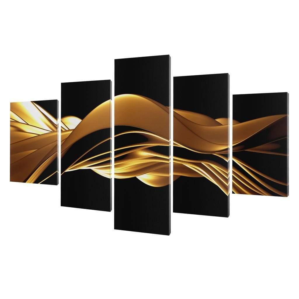 5P Canvas Golden Wave 5 panel wall art canvas