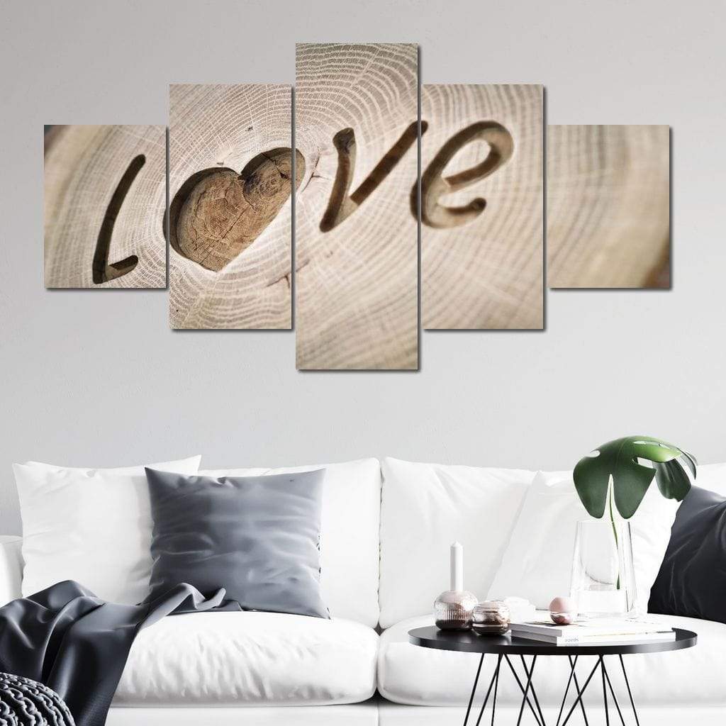 5P Canvas Love Tree Rings 5 panel wall art canvas