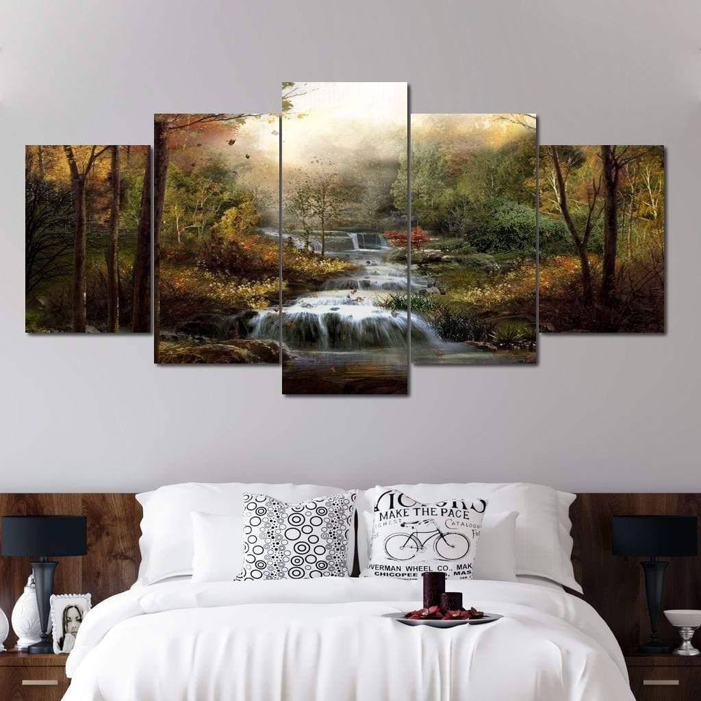 5P Canvas Autumn Stream 5 panel wall art canvas