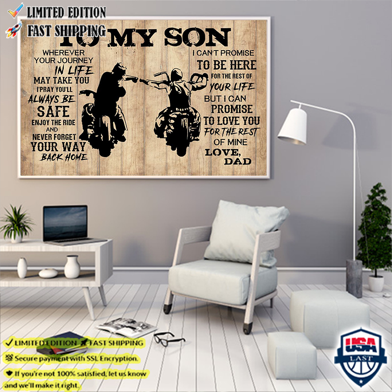 Mortorcycle To My Son Love Dad Poster And Canvas Print