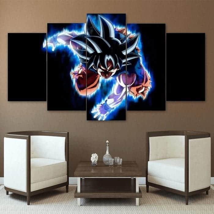 5P Canvas Ultra Instinct Son Goku Attack Blue Flame 5 panel Canvas Print