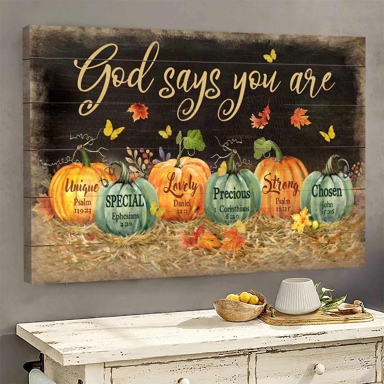 Jesus Pumpkin on background God Canvas