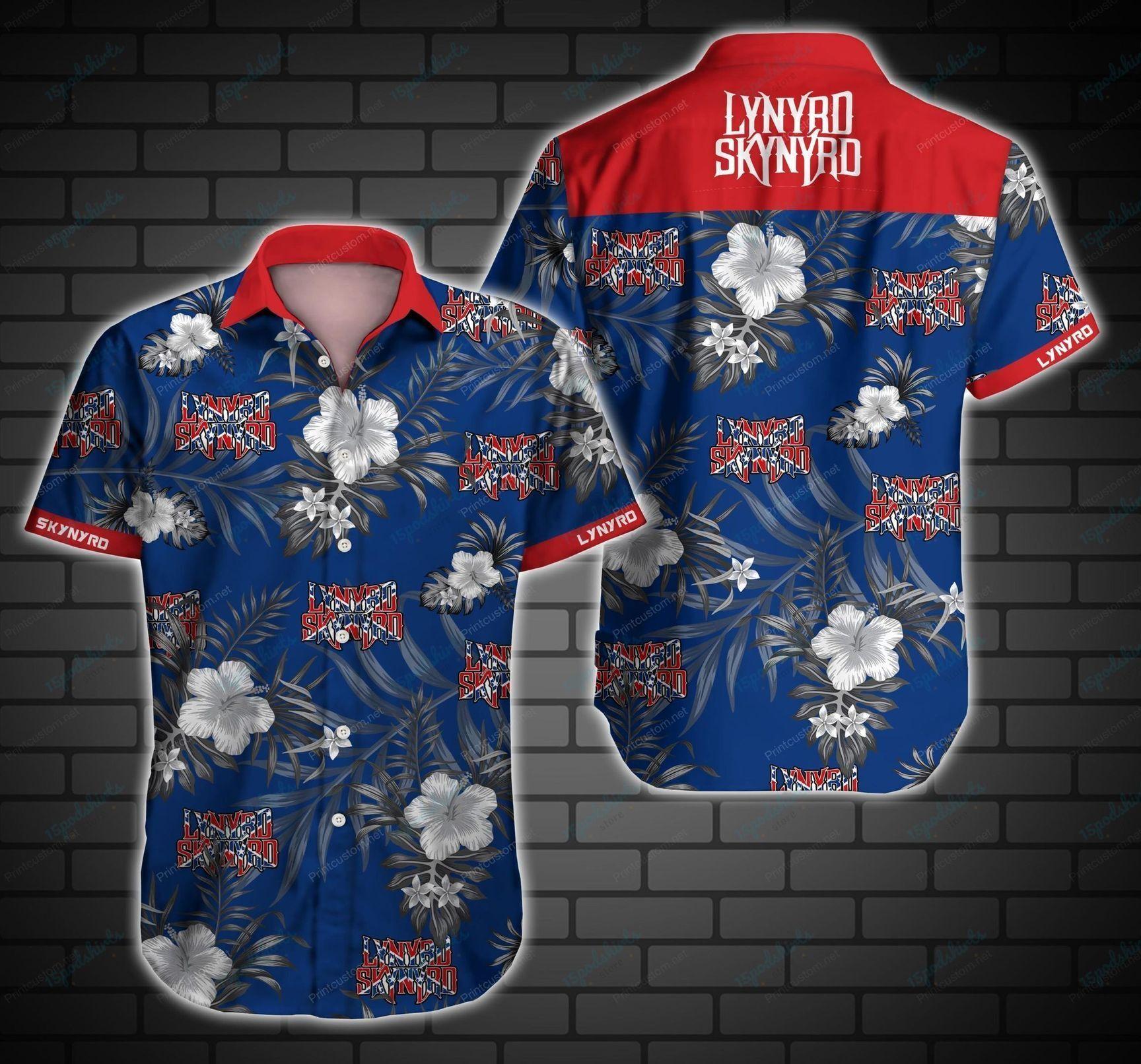 Lynyrd Skynyrd American Rock Band Blue Hawaiian Shirt