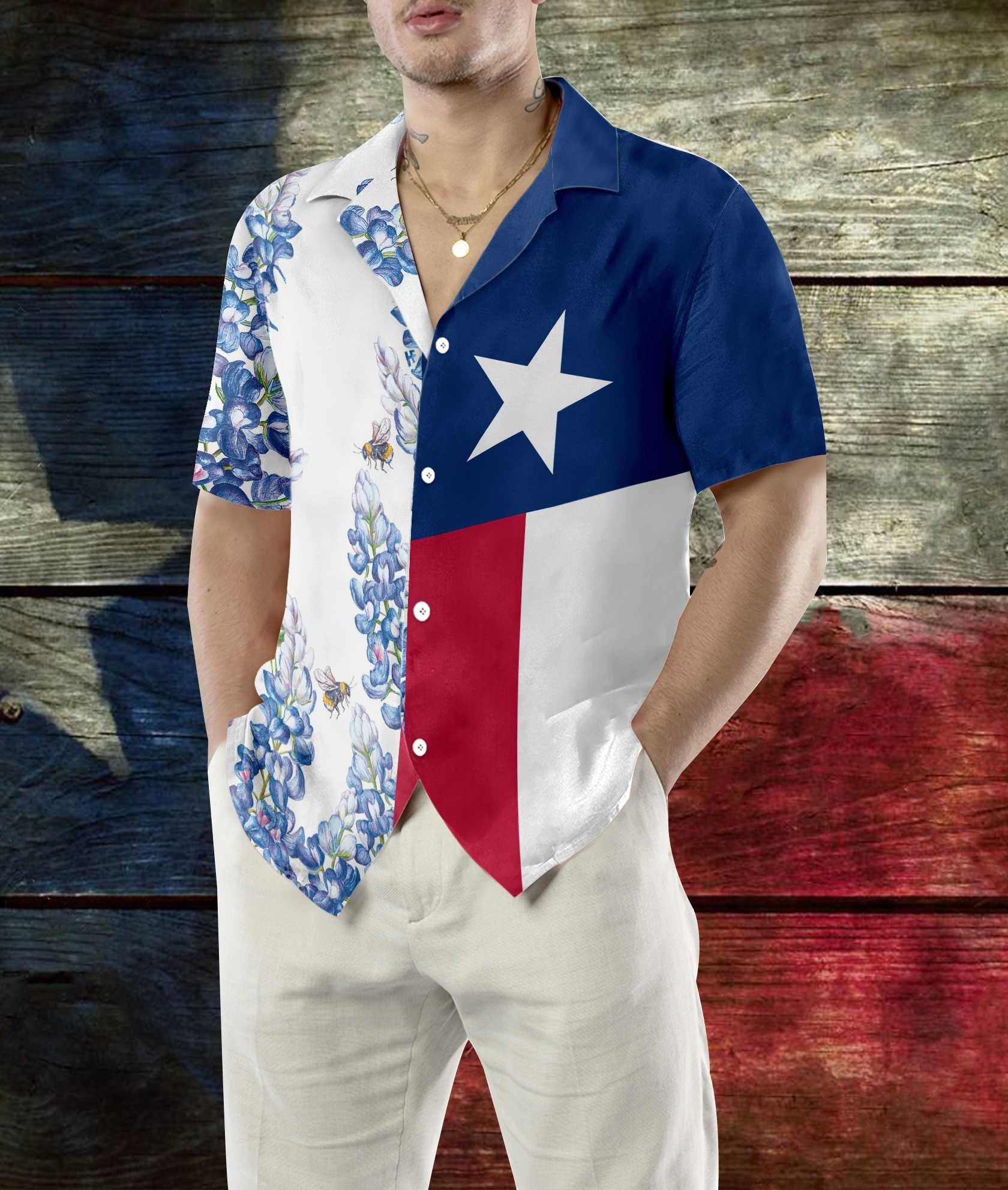 Royal Blue Bluebonnet Texas Hawaiian Shirt