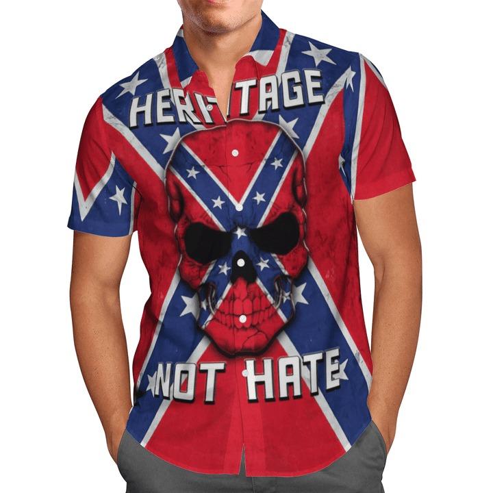 Southern Pride Skull Heritage Not Hate Hawaiian Shirt